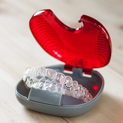 Invisalign trays in carrying case