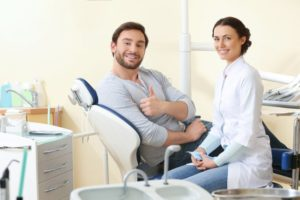 Happy, anxiety-free patient visiting his dentist in Frisco
