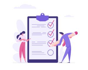 businessman and businesswoman checklist concept
